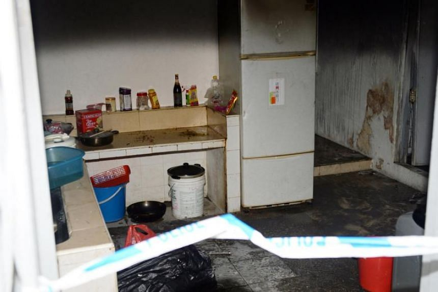 The aftermath of a fire that broke out in a shophouse in Lorong 4 Geylang, on Dec 6, 2014.