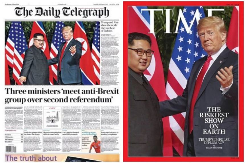 ST executive photojournalist Kevin Lim's shot of the two leaders meeting in the courtyard of the Capella Singapore was used by The Daily Telegraph (left), The Courier Mail and Time magazine (right).