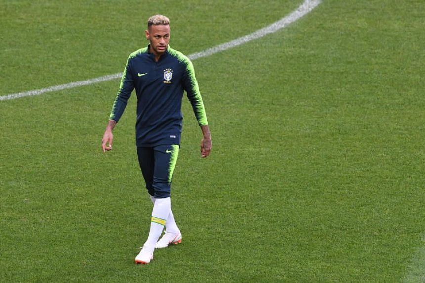 Brazil's Neymar during a training session in the Spartak stadium in Moscow, Russia, on June 26, 2018.