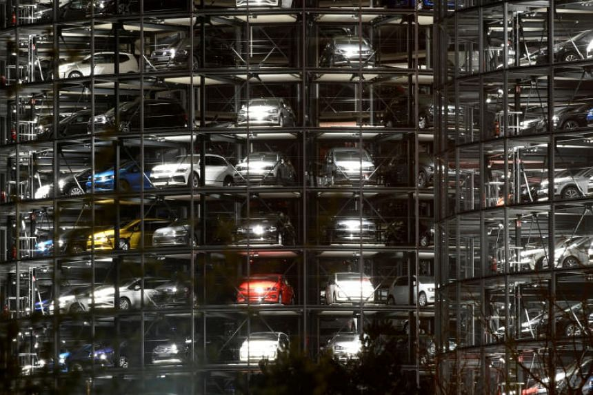 Volkswagen cars are seen in a delivery tower at the Volkswagen plant in Wolfsburg, Germany, on April 12, 2018.