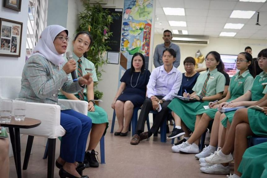 President Halimah Yacob was the guest of honour at a dialogue on leadership and how students could contribute to the community at Tanjong Katong Girls' School, on June 27, 2018.