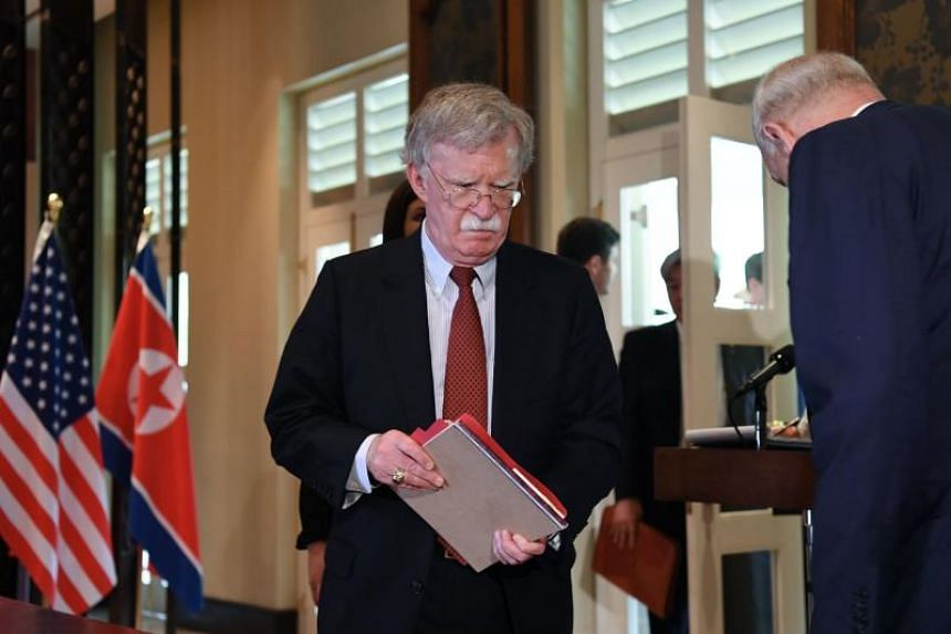 US National Security Adviser John Bolton in Quebec, on June 8, 2018. Mr Bolton is due to give a news conference where he might name the date and location of a summit between Russian President Vladimir Putin and US President Donald Trump.