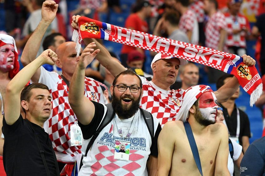 Croatia's supporters reacting at the end of the Russia 2018 World Cup Group D football match between Iceland and Croatia at the Rostov Arena in Rostov-On-Don, on June 26, 2018.