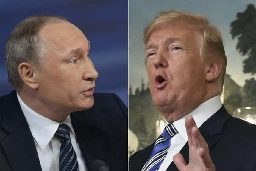 Russian President Vladimir Putin (left) during his annual press conference in Moscow on Dec 17, 2015, and US President Donald Trump speaks about the spending bill during a press conference at the White House on March 23, 2018.