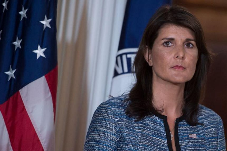 US Ambassador to the United Nation Nikki Haley speaks at the US Department of State in Washington DC, on June 19, 2018.