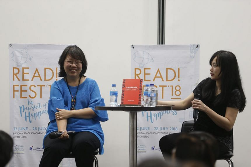 ST Opinion editor Chua Mui Hoong (left) and journalist Denise Chong taking questions after the discussion. Ms Chua's book Singapore, Disrupted has sold more than 2,200 copies in the past six weeks since its publication.