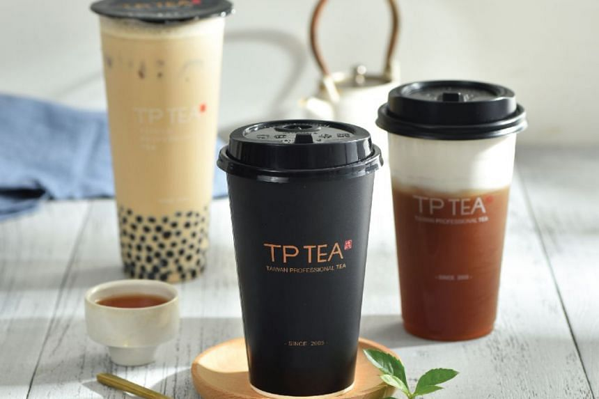 An assortment of TP Tea beverages. The chain will open its first outlet at the departure hall of Changi Airport Terminal 2 before immigration counters.