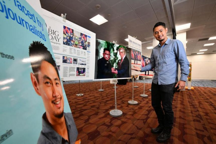 Mr Kevin Lim at a mini exhibition of his works at the National Library.