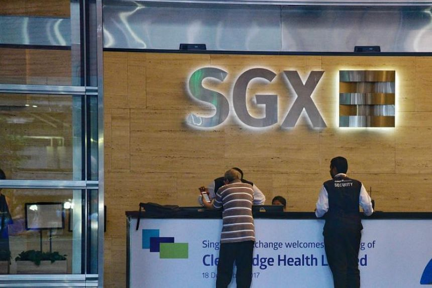 The SGX centre along Shenton Way. The Straits Times Index rised 2.61 points as Singapore stocks opened 0.08 per cent higher, on June 27, 2018.