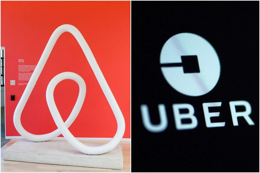 The logos of Airbnb and Uber. Japan may be a high-tech hub but it has been surprisingly slow to warm to the sharing economy that has disrupted markets across the globe.