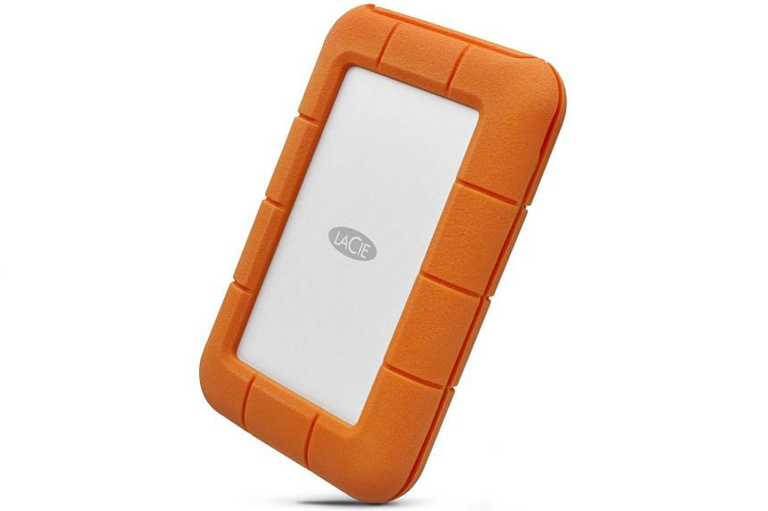 The new Rugged Secure external hard drive is buffered from drops and other external shocks by a bright-orange rubber bumper around its silver aluminium case.