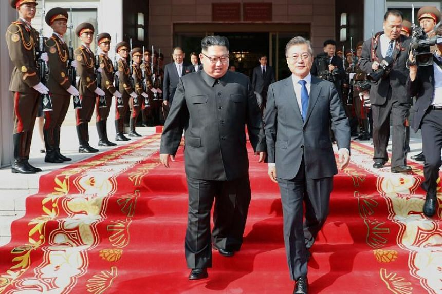 If a meeting between South Korean President Moon Jae-in (centre left) and North Korean leader Kim Jong Un is realised at the Asian Games, it will be the first inter-Korean summit to be held outside of the Korean peninsula.