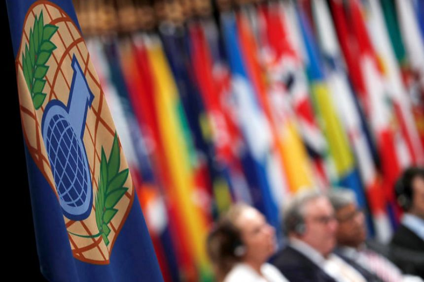 The logo of the Organisation for the Prohibition of Chemical Weapons (OPCW) is seen during a special session in the Hague, Netherlands, on June 26, 2018.