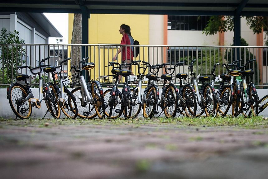 oBikes seen between Block 223 and Block 224 Lorong 8 Toa Payoh yesterday. The bike-sharing operator's bicycles which were left strewn around the island have become an eyesore for many people. Since oBike's announcement to cease operations, it has bee