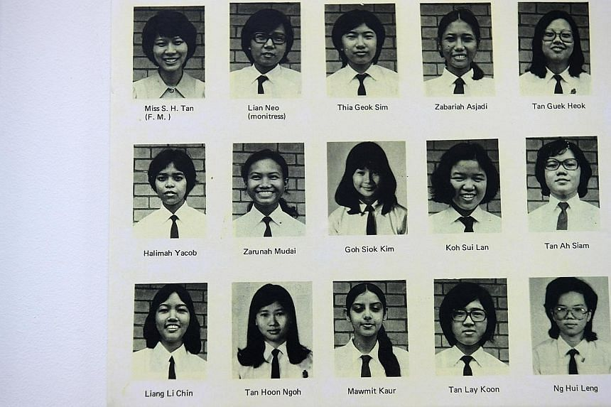A photo of a page from an old TKGS year book. Madam Halimah is in the second row, on the extreme left. She studied at TKGS from 1972 to 1973.