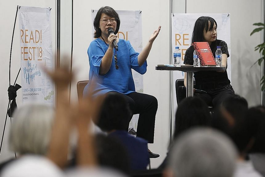 The Straits Times' Opinion editor Chua Mui Hoong (left) and senior executive content producer Denise Chong, the event moderator, taking questions from the audience at the ST Book Club session yesterday.