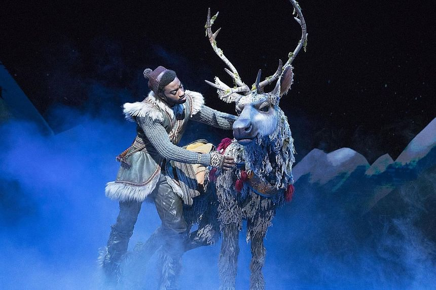 Andrew Pirozzi is the reindeer Sven, with Jelani Alladin as Kristoff, in the musical Frozen.
