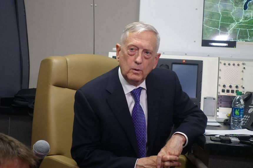 US Defense Secretary James Mattis aboard his official aircraft on the first leg of a trip which will take him to China, South Korea and Japan, on June 24, 2018.