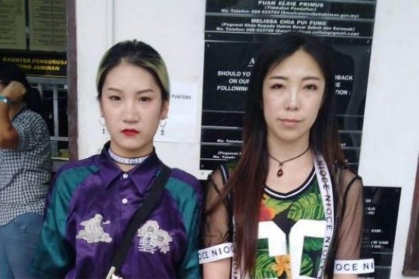 Wan Han (left) and Zhang Na pleaded guilty to disorderly behaviour in public places after a video of them dancing in front of a mosque went viral.