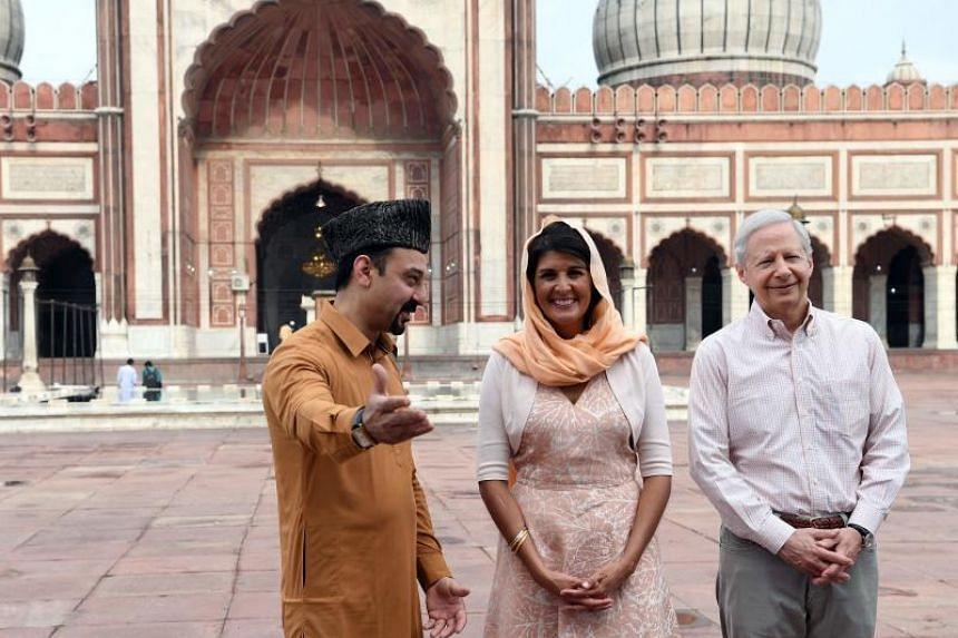 US Ambassador to the United Nations Nikki Haley (centre) with general secretary of the advisory council of the Jama Masjid, Syed Tariq Bukhari (left), and US Ambassador to India, Kenneth Juster, during her visit to the Jama Masjid mosque, in New Delh