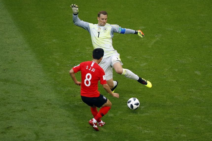 Goalkeeper Manuel Neuer of Germany (right) and Ju Se-jong of South Korea in action during the Fifa World Cup 2018 group F preliminary round soccer match between South Korea and Germany in Kazan, Russia, on June 27, 2018.