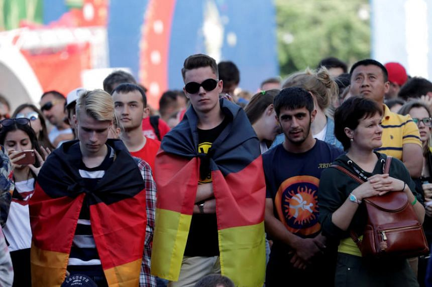 Germany fans watch the broadcast at Saint Petersburg Fan Fest on June 27, 2018.