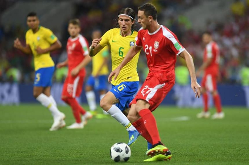 Brazil's defender Filipe Luis (left) vies with Serbia's midfielder Nemanja Matic during the Russia 2018 World Cup Group E football match between Serbia and Brazil at the Spartak Stadium in Moscow on June 27, 2018.