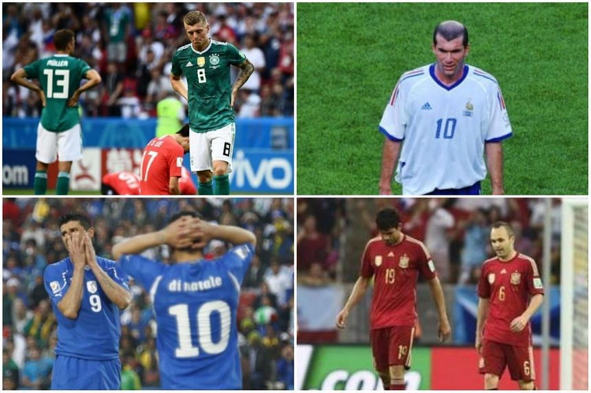 (Clockwise from top left) Players from Germany, France, Spain and Italy react during their World Cup matches where they were eliminated as defending champions in the group stages in 2018, 2002, 2010 and 2014 respectively.