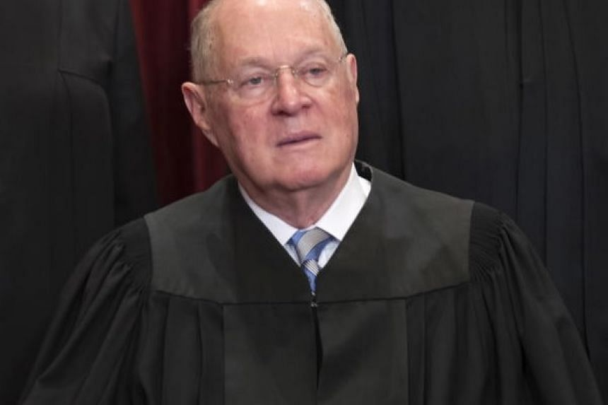 Supreme Court Associate Justice Anthony Kennedy participates in an official group portrait in the East Conference Room of the Supreme Court in Washington, DC, US, on June 1, 2017.