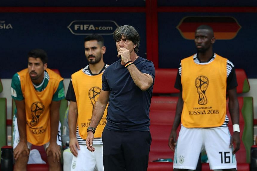 Germany's coach Joachim Loew reacts during the Russia 2018 World Cup Group F football match between South Korea and Germany at the Kazan Arena in Kazan, on June 27, 2018.