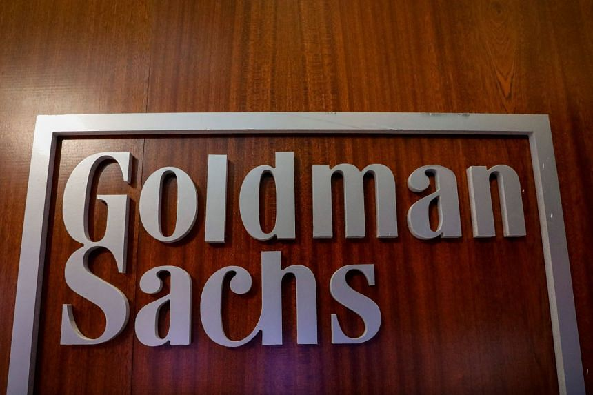 The Goldman Sachs company logo in the company's space on the floor of the New York Stock Exchange, in New York.