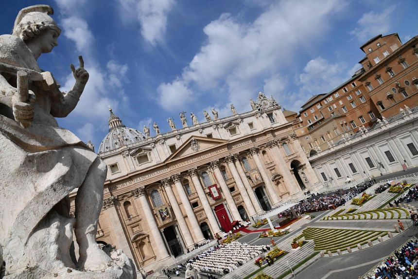 File photo showing St Peter's basilica during a holy mass on the second Sunday of Easter, on April 8, 2018, at St Peter's square in the Vatican.