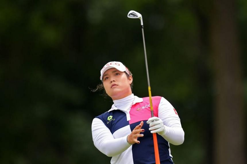 Ariya Jutanugarn of Thailand watches her tee shot on the third hole during the final round of the Walmart NW Arkansas Championship Presented by P&G at Pinnacle Country Club on June 24, 2018.