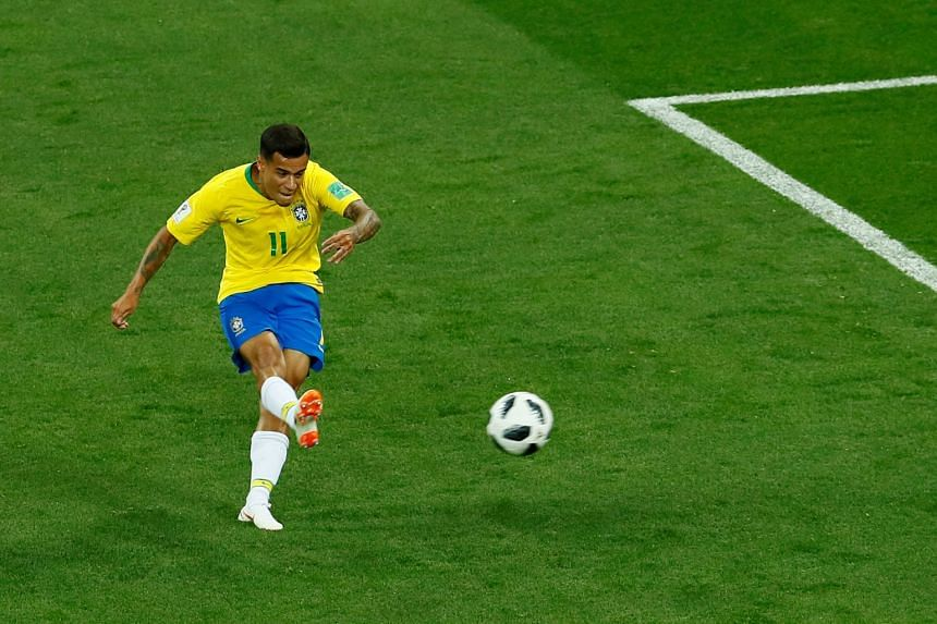 Brazil's Philippe Coutinho scores their first goal against Switzerland, on June 17, 2018.