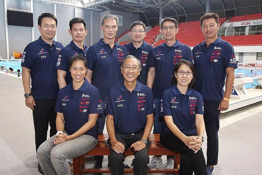 Clockwise from top left: Vice-president (partnerships) Alvin Hang, assistant secretary general (swimming) Kelvin Yew, secretary general Bervyn Lee, vice-president (synchronised swimming) Steve Chew, vice-president (diving) William Lee, vice-president
