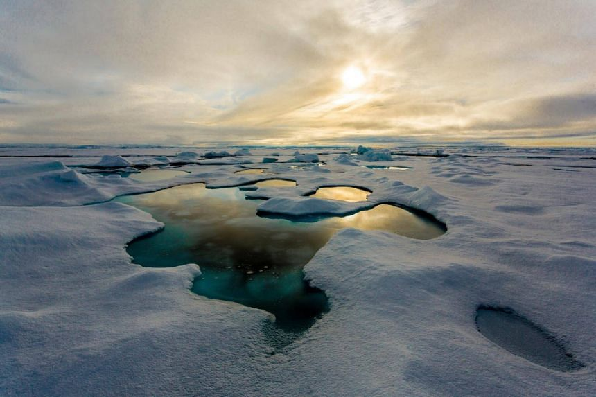 Melt ponds on the Arctic sea ice in the Central Arctic. Cold temperatures have conserved artefacts and human remains in often near-perfect conditions for millennia.