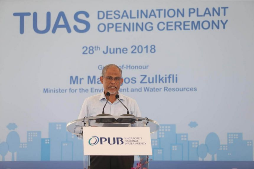 Minister for the Environment and Water Resources Masagos Zulkifli officiating the opening ceremony of the Tuas Desalination Plant, on June 28, 2018.
