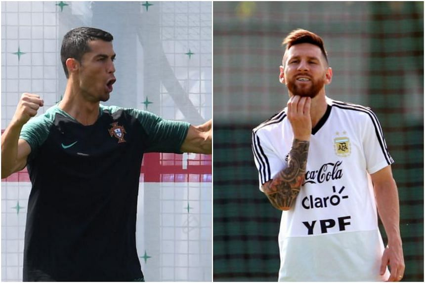 Portugal's Cristiano Ronaldo and Argentina's Lionel Messi at their training sessions in Russia.