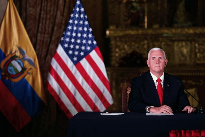 US Vice President Mike Pence gives a statement after a meeting with Ecuadoran President Lenin Moreno at the Carondelet presidential palace in Quito, on June 28, 2018.