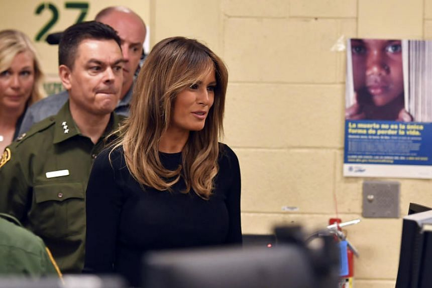 US First Lady Melania Trump tours a US Customs and Border Protection Facility in Tucson, Arizona on June 28, 2018.