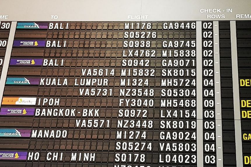 Numerous flights from Singapore's Changi Airport to Bali, as well as those from the Indonesian island, were cancelled or postponed.