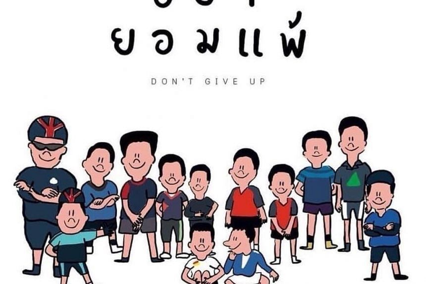 Thais have tweeted cartoons and drawings of the missing boys and their coach in an outpouring of love and encouragement on social media.