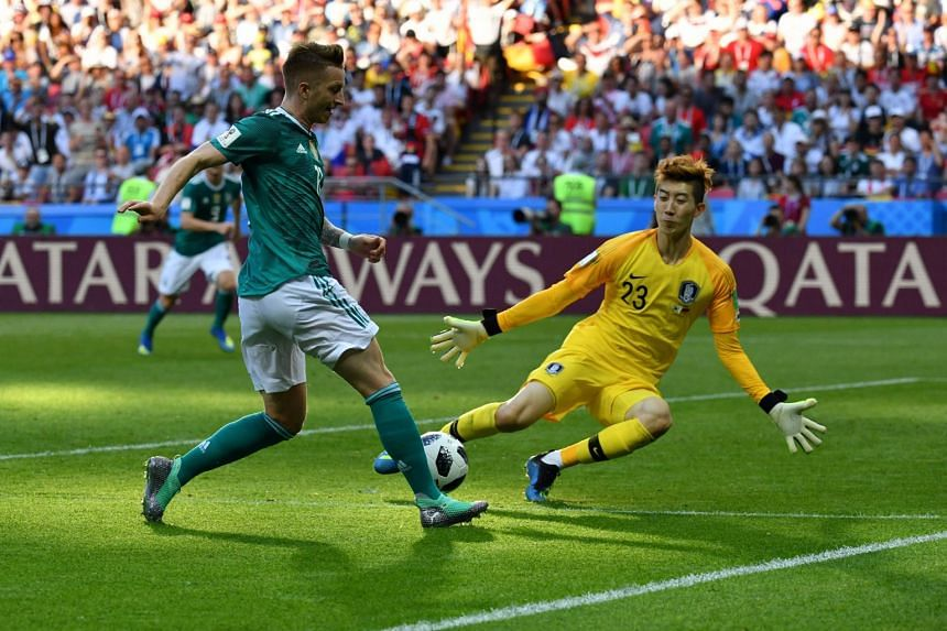 The Taeguk Warriors first-choice goalkeeper Cho Hyun-woo denying Germany forward Marco Reus with a sprawling save - one of six top-drawer stops - as they kept a clean sheet against the defending champions.