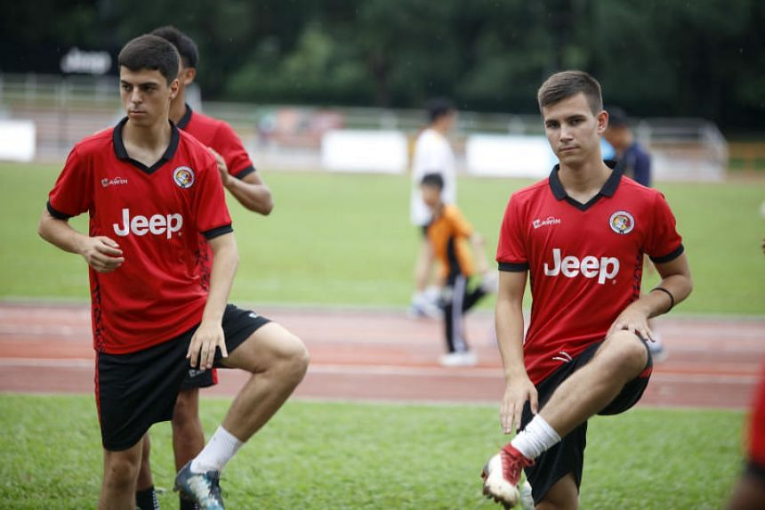 New Balestier Khalsa signings Sanjin Vrebac (left) and Dusan Marinkovic (right).
