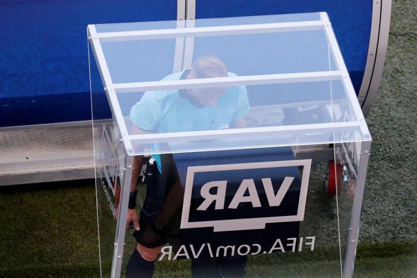 The VAR system is being used at a World Cup for the first time in Russia.