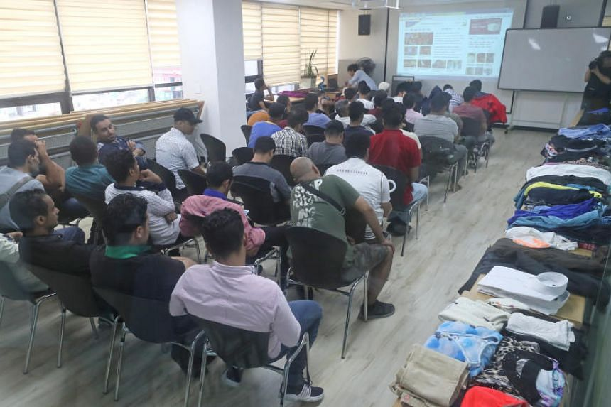 Yemeni refugees waiting for consultation at the refugee centre in Jeju, South Korea, on June 29, 2018.