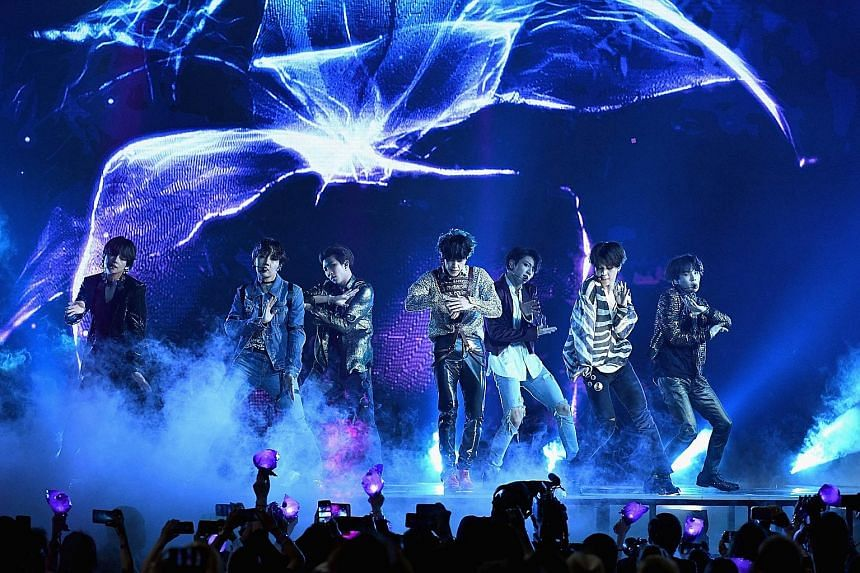 K-pop group BTS performing at the 2018 Billboard Music Awards in Las Vegas last month.