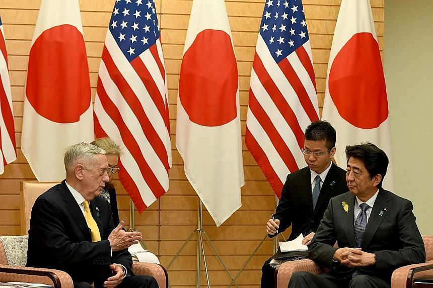US Defence Secretary James Mattis, who has been on a tour of Asian nations that may be affected by the US' June 12 deal with North Korea, meeting Japanese Premier Shinzo Abe yesterday at Mr Abe's official residence in Tokyo.