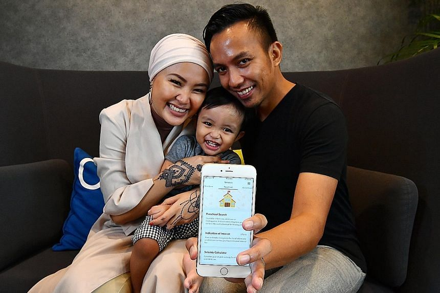 Freelance content creator Ateeqah Mazlan, 29, with her husband, music producer Rostam Effendie Yacob, 36, and their 18-month-old son Ezra. The couple find the pre-school search function in the Moments of Life (Families) app the most helpful feature.