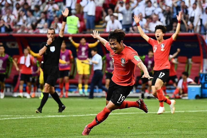 Kim Young-gwon wheeling away after putting South Korea ahead in added time against Germany on Wednesday in Kazan. Son Heung-min's goal wrapped up the Taeguk Warriors' memorable 2-0 win, sending the world champions and top-ranked team to their earlies